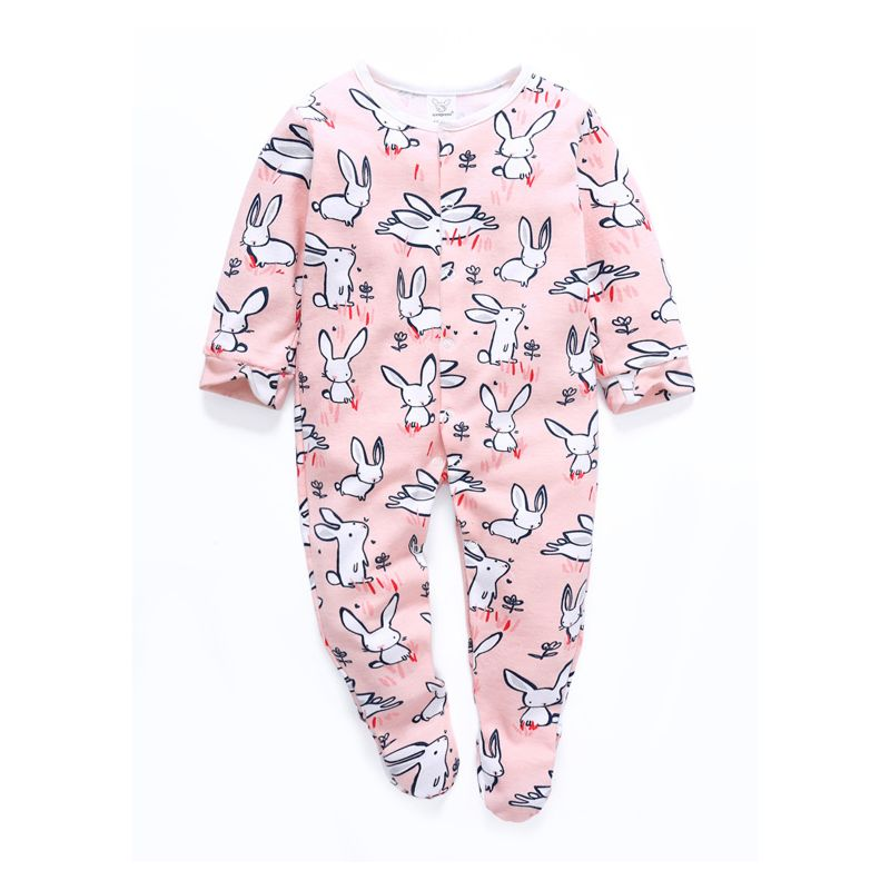 Cute Newborn Baby Easter Long-sleeved Bunny Footed Overalls Sleepsuit
