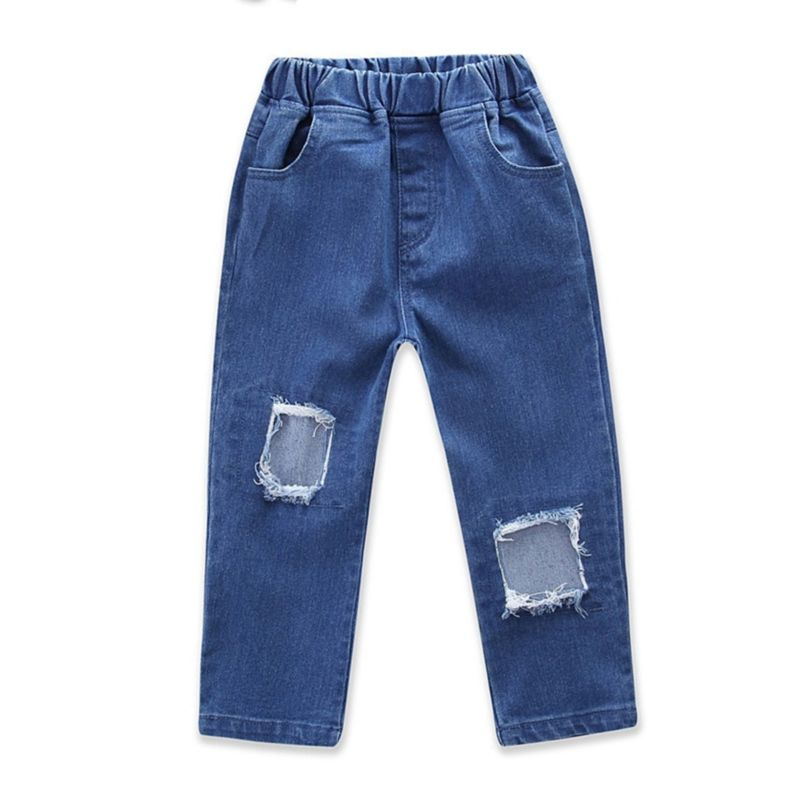 Spring Baby Little Girl Fashion Ripped Jeans