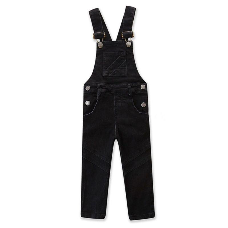 Spring Baby Toddler Girl Denim Bib Overalls Kids Blue/Black Suspender Trousers