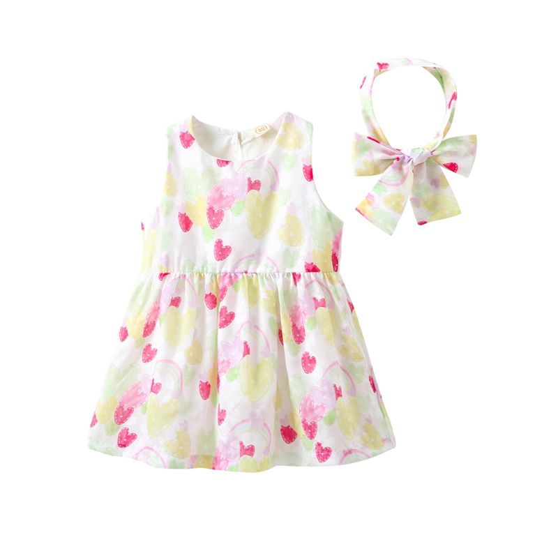 6ed2d672165 Summer Cute Baby Little Girl Love Hearts Print Sleeveless Dress with  Headband