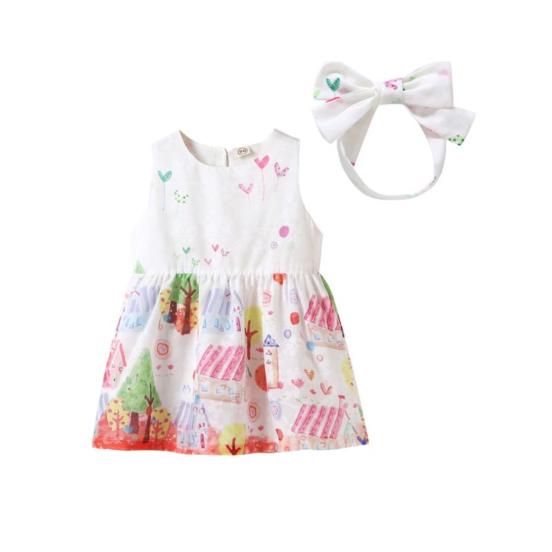 Sweet Infant Toddler Girl Cartoon Print Summer Sleeveless Shift Dress with Bowknot Headband