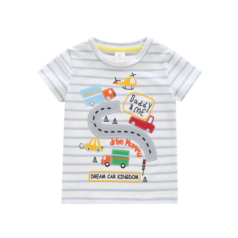 Summer DADDY & ME Cartoon Car Striped Baby Toddler Boys Short-sleeved T-shirt