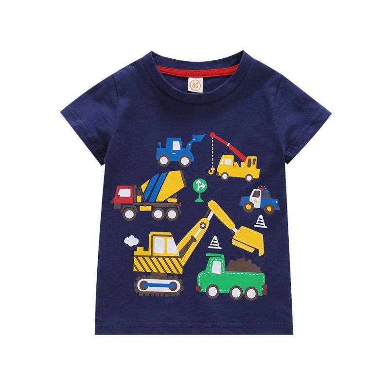 Summer Infant Toddler Big Boys Cartoon Cars Cotton T-shirt