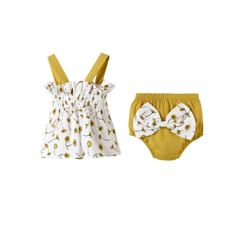 2-piece Summer Baby Girl Flower Print Suspender Top + Bow Shorts