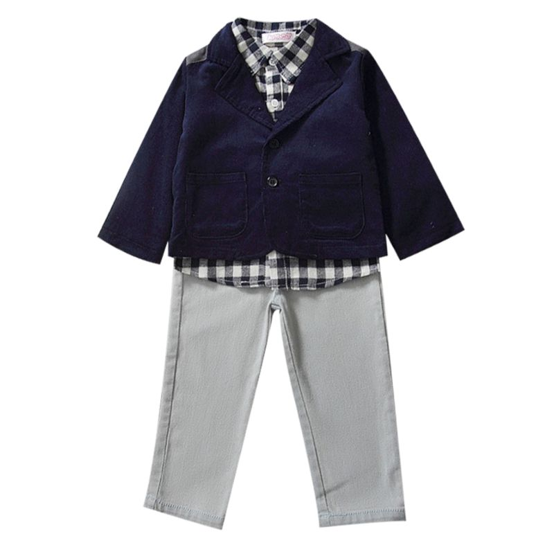 3-piece Spring Toddler Big Boys Casual Suits Outfits Set Checked Shirt+Corduroy Suit Jacket+Jeans