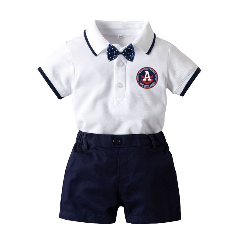 3-piece Summer British Style Baby Boy Turn Down Collar Bodysuit + Shorts +Bowtie