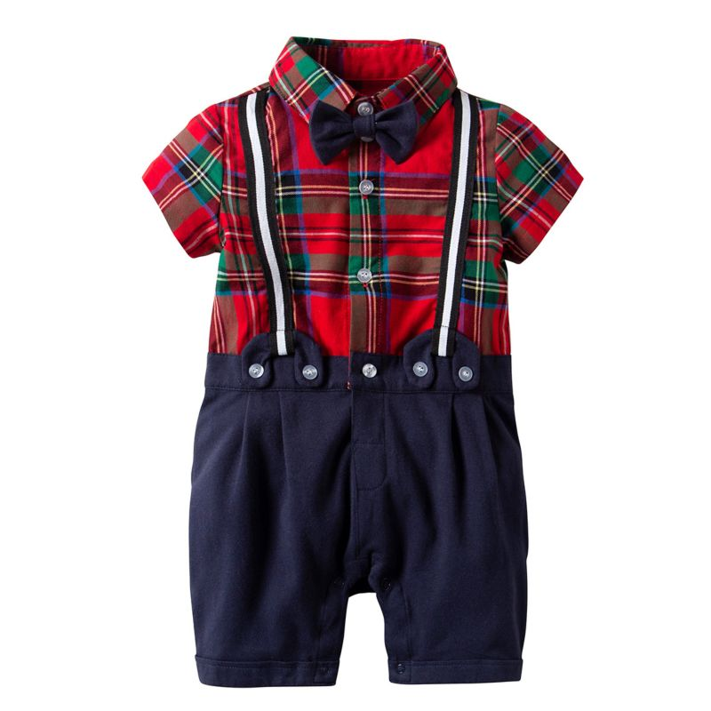 Summer British Style Infant Boy Checked Short-sleeved Onesie with Bowtie