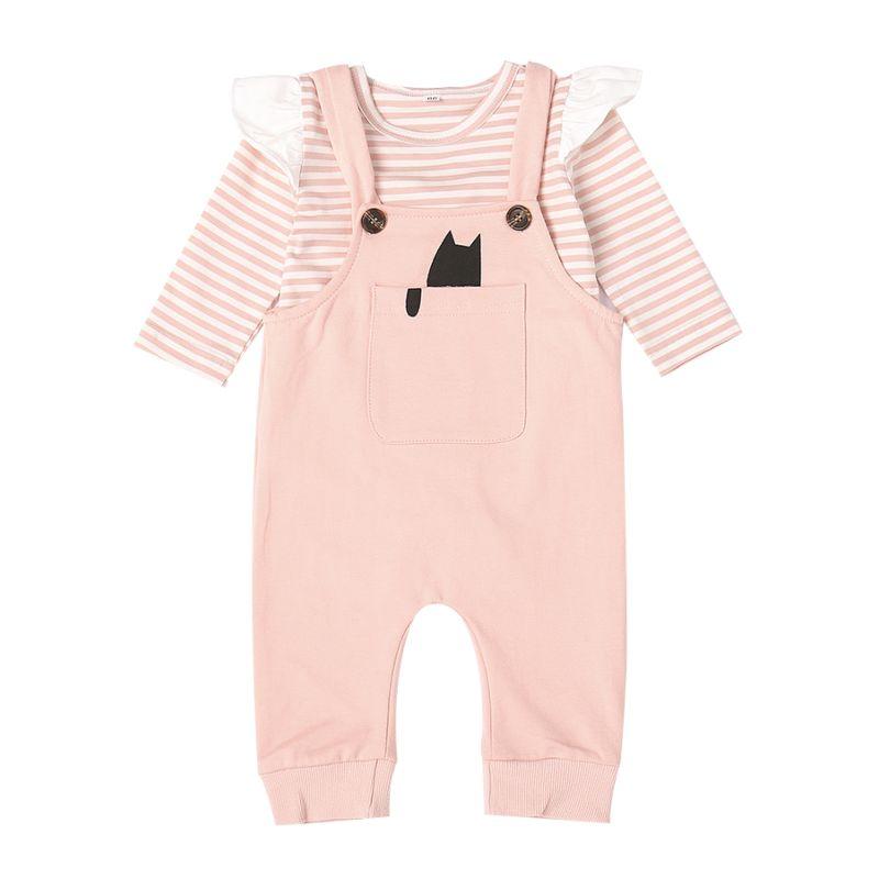 2-piece Baby Clothes Outfits Set Striped Long Flutter Sleeve Bodysuit+Suspender Pants