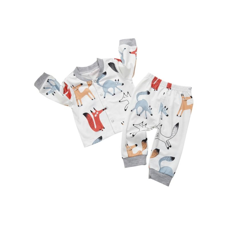 2-piece Spring Cartoon Fox Print Baby Cardigan+Pants Set