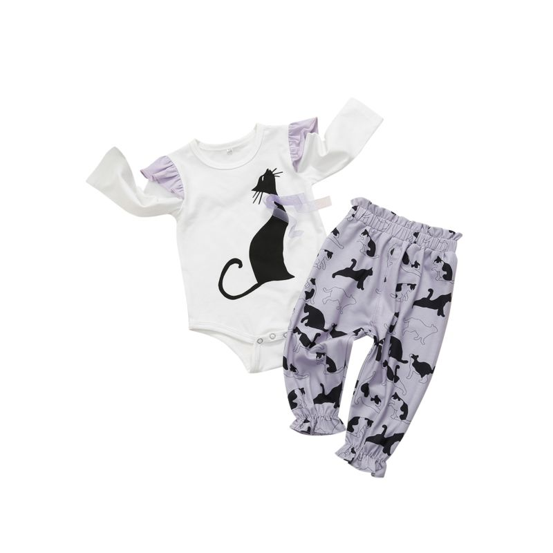 2-piece Spring Baby Girl Long Flutter Sleeve Cat Print Bodysuit + Trousers Set