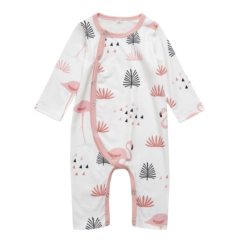 Spring Flamingo Print Long-sleeved Baby Overalls Jumpsuit