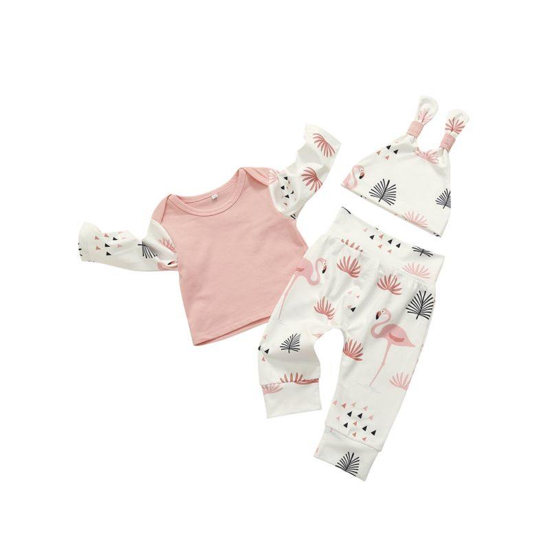 3-Piece Spring Infant Girl Flamingo Print Clothing Outfits Set Long-sleeved T-shirt+Trousers+Hat