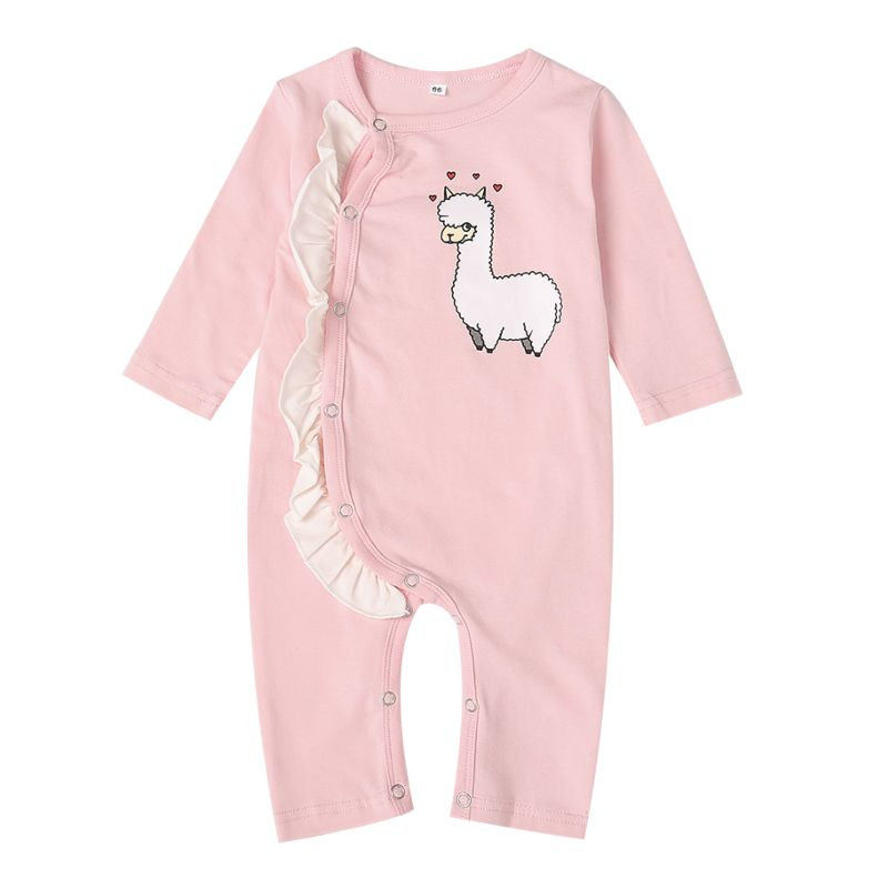 Spring Pink Frilled Sheep Print Baby Girl Sleepsuit Overalls