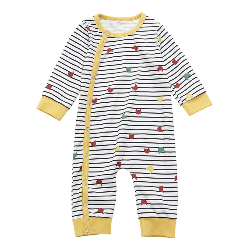 Unisex Baby Striped Long-sleeved Jumpsuit Overalls