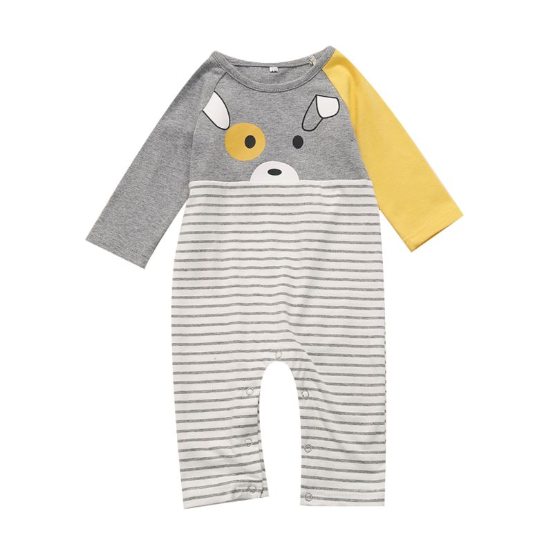 Cute Cartoon Striped Long-sleeved Baby Overalls Jumpsuit