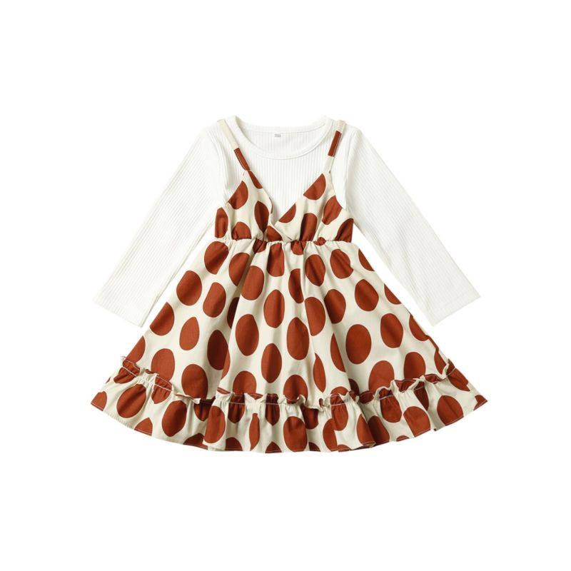 Spring Toddler Big Girl Polka Dots Casual One-piece Dress