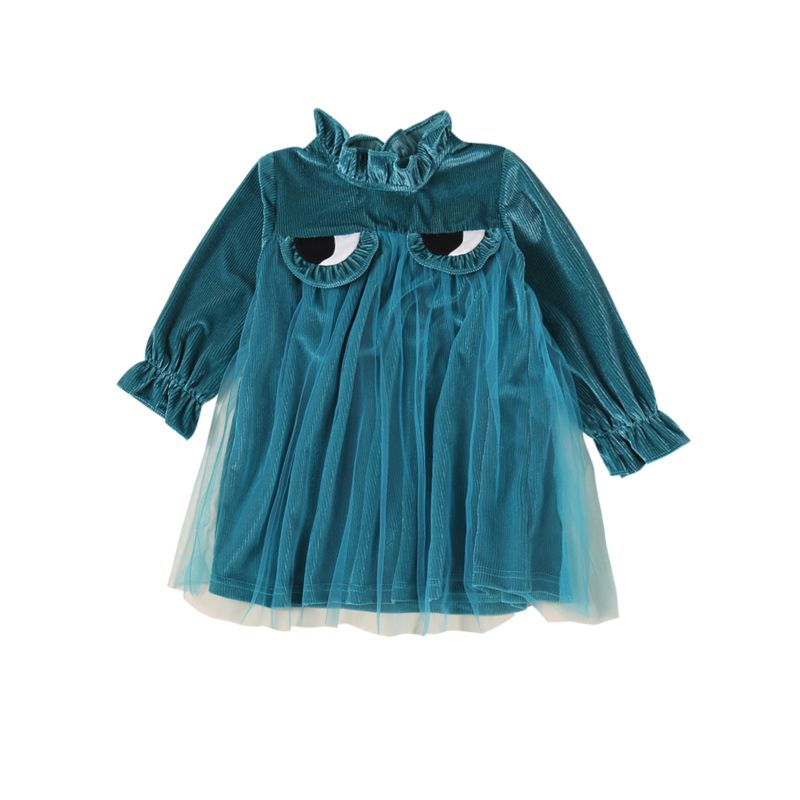 Little Big Girl Long-sleeved Frilled Collar Big Eyes Tulle Shift Dress