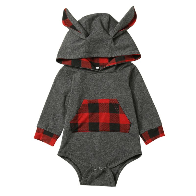 Cute Ear Hooded Long-sleeved Baby Bodysuit with Kangaroo Pocket