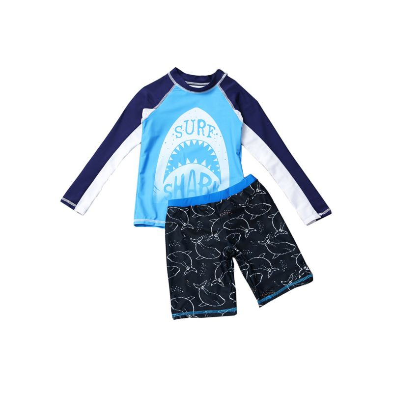 2-Piece Kids Sun Protection Swimwear Set SURF SHARK long-sleeved Top + Short Pants