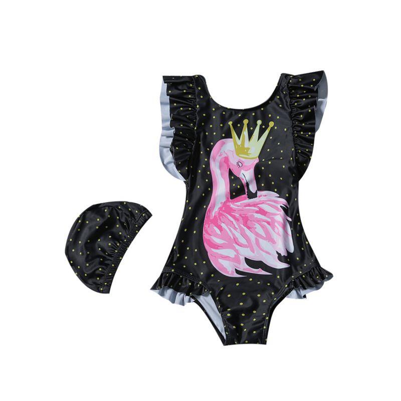 2-piece Baby Little Girl Frilled Swan Print Bathing Suit + Swim Hat Set