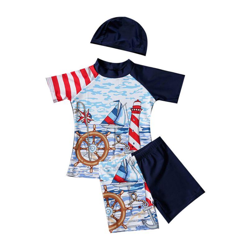 3-Piece Little Big Boys Sailboat Print Rashguard Swimwear Set Top + Short Pants+ Swim Hat