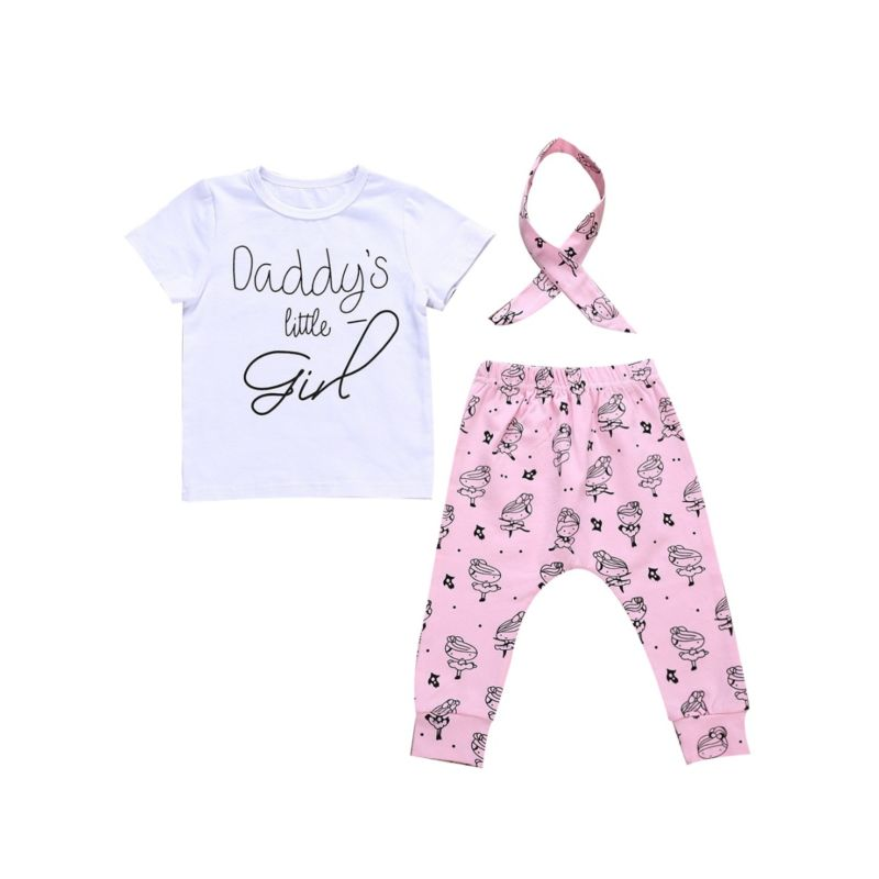 3-Piece Baby Girl DADDY'S LITTLE GIRL Letters Print Short-sleeved T-shirt +Cartoon Girl Print Trousers+Headband Set