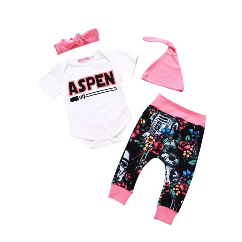 4-Piece Baby Girl Clothes Outfits Set ASPEN Letters Print Short-sleeved Bodysuit + Flower Print Trousers + Pink Headband +Hat