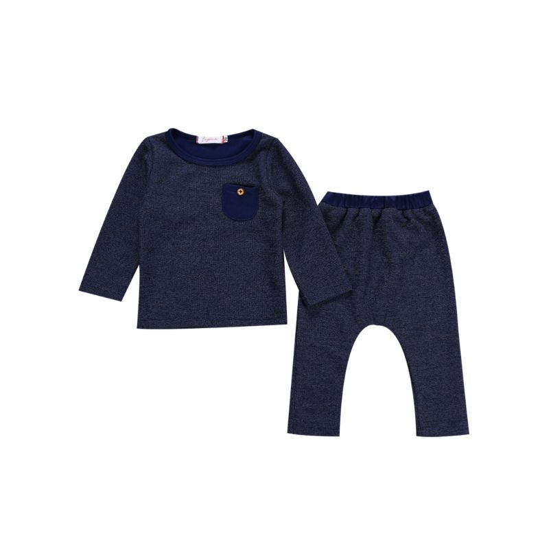 2-piece Baby Boys Spring Collection Solid Color Long-sleeved T-shirt + Casual Pants Set