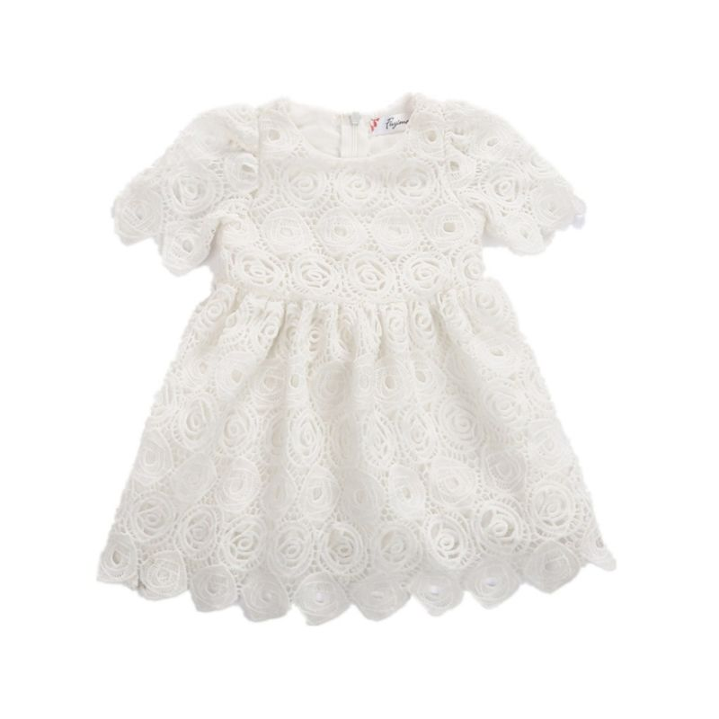 Baby Girl Pierced Flower Christening Dress Infant Summer Baptisms Dress