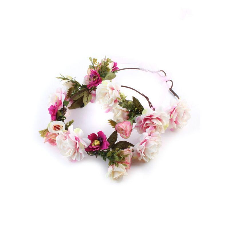 2-PACK Mumm & Me Bohemian Style Flower Garland Headband for Seaside Holiday