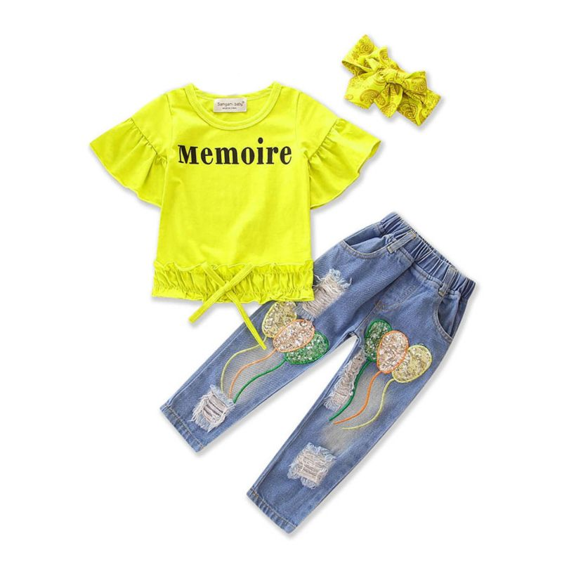3-piece Summer Baby Little Girl Memoire Letters Print Short Flutter Sleeve T-shirt +Balloon Sequin Frayed Jeans+Headband Set
