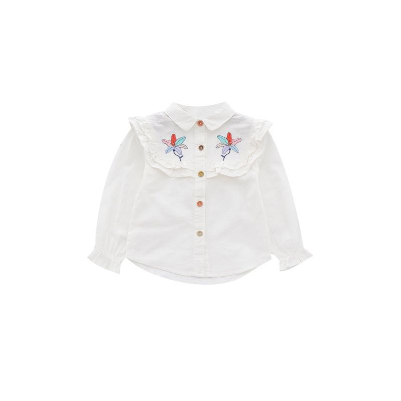 6-PACK Toddler Big Girls Spanish Style Long-sleeved Flower Embroidery Frilled Blouse