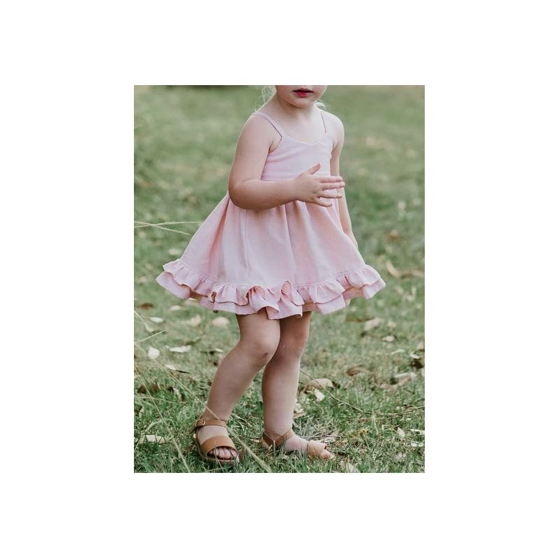 Fashion Baby Little Girl Pink Suspender Pleated Dress