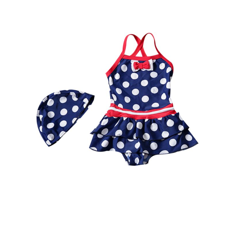 2-piece Bow Polka Dots Kids Swimming Suit with Swim Hat