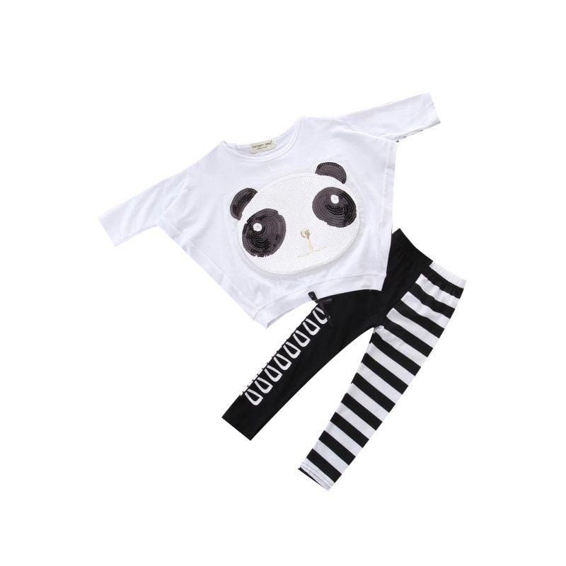 2-Piece Fashion Little Big Girl Panda Pattern Sequins T-shirt Top+Striped Pants Set