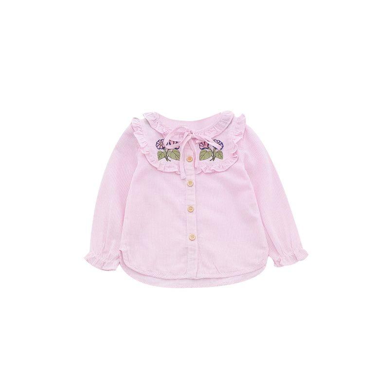 6-PACK Spring Kids Flower Embroidery Striped Frilled Long-sleeved Shirt Pink/Light Blue