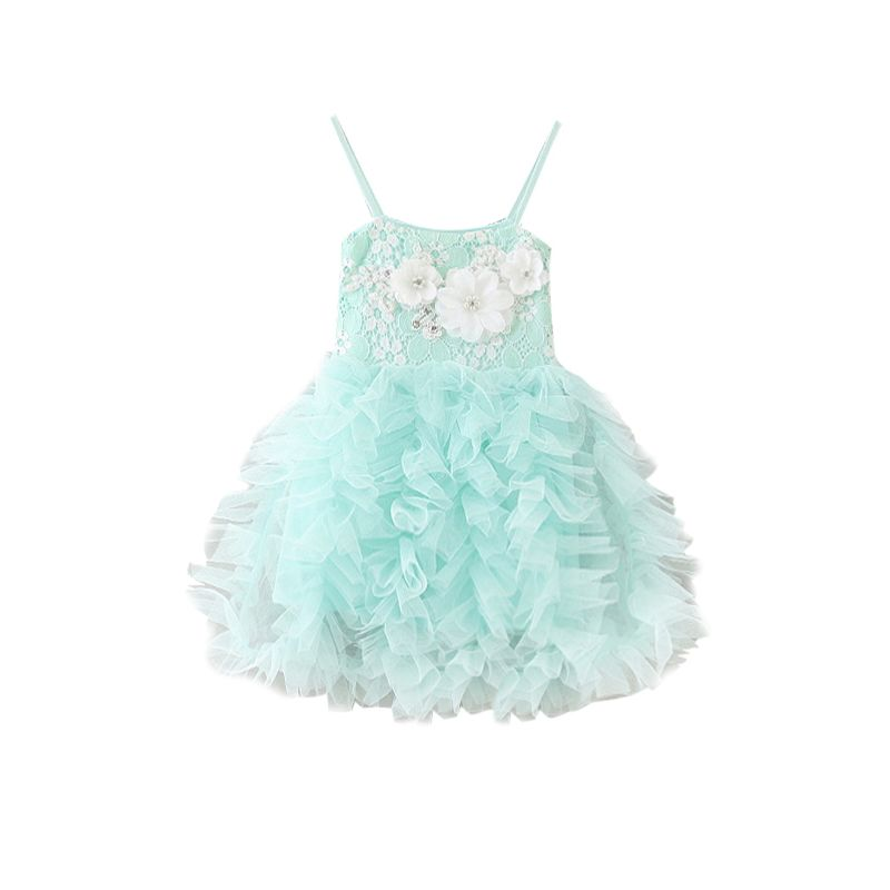 5-PACK Summer Baby Little Girl Flower Trimmed Layered Suspender Mesh Princess Dress Kids Light Green Sundress