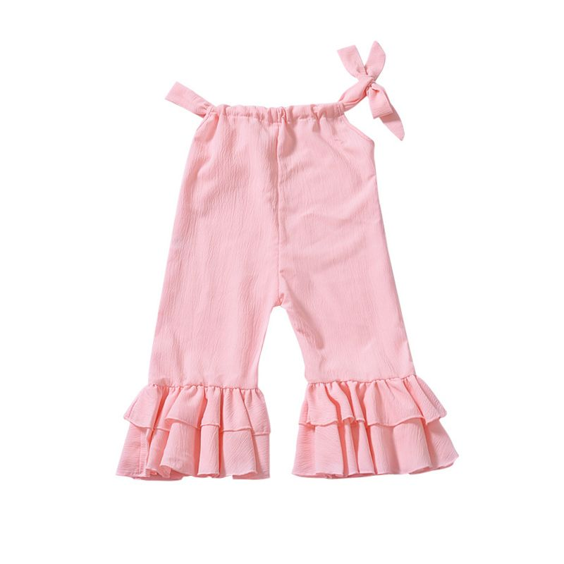 Fashion Baby Little Girl Pink Frilled Suspender Flared Trousers