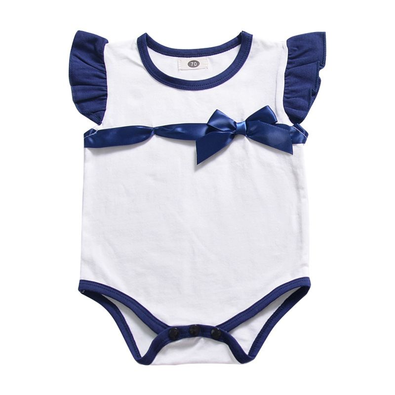 Short Flutter Sleeve Bow Baby Girl Romper  Infant Summer Bodysuit