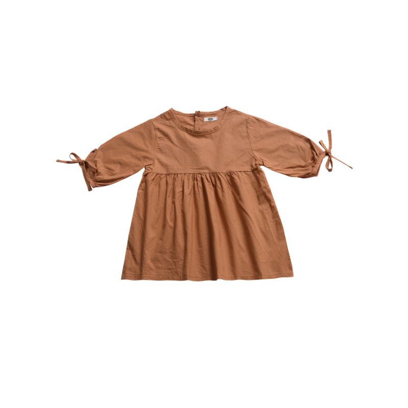 Solid Color Infant Little Girl Long-sleeved Shift Dress Baby Spring Clothes