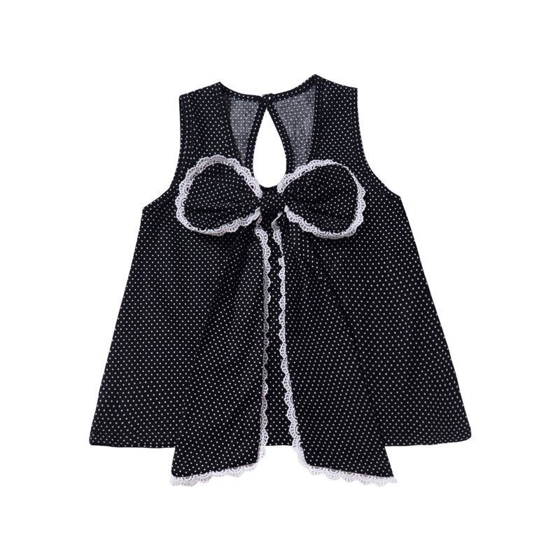 Summer Fashion Bow Polka Dots Sleeveless Pinafore Dress for Infant Little Girl