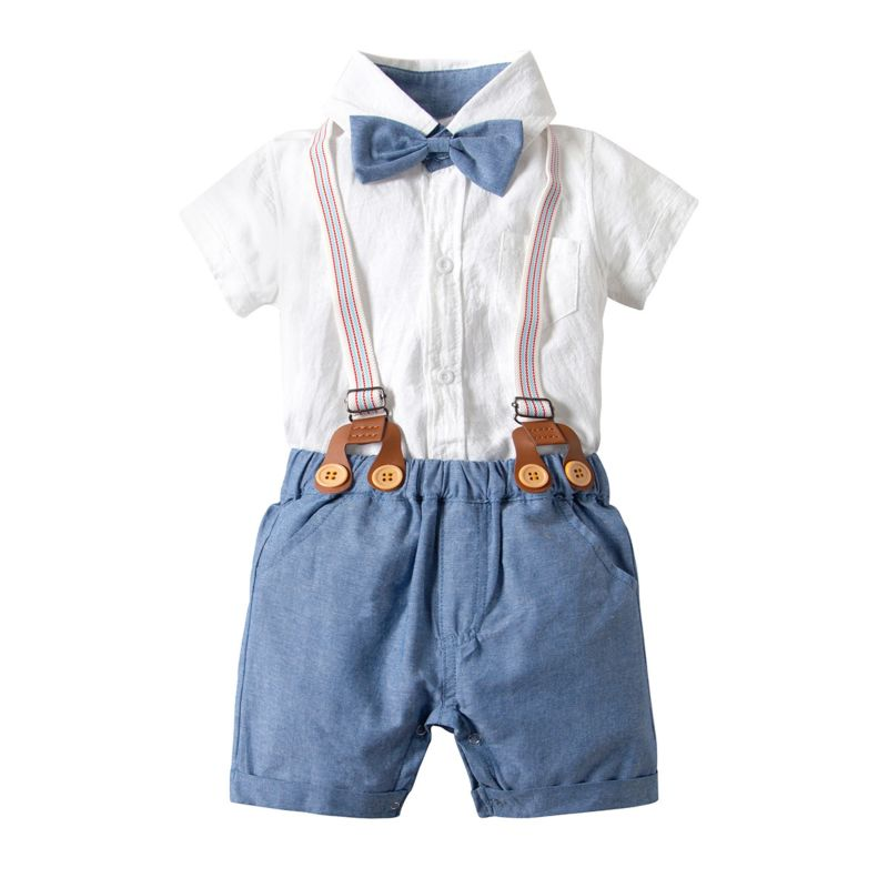 4-Piece Summer Babywear Outfits Set Short Sleeve Button Down  White Bodysuit+Adjustable Shoulder Straps Shorts+Bow Tie