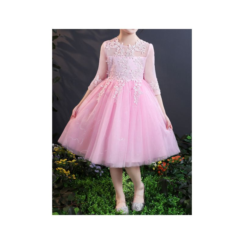 Flower Girl Dress with Illusion Sleeves Kids Princess Party Dress Pink/White