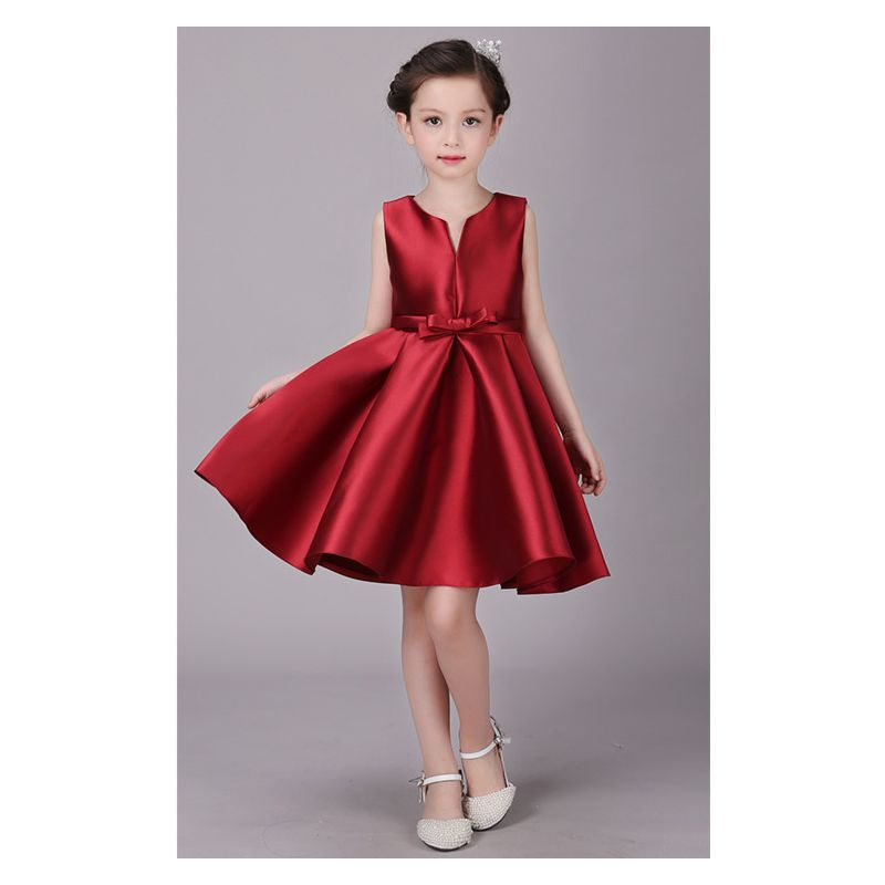 39ca5acc5 Korean Fashion Francy Red Toddler Big Girl Sleeveless Skater Dress Kids Bow  Ball Gown Costume Dress