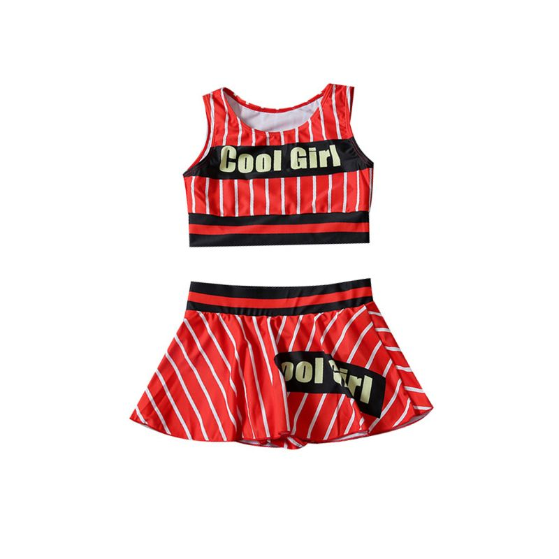 2-piece Summer Kids Girl Swimsuit Set COOL GIRL Letters Print Crop Top + Striped Skirt