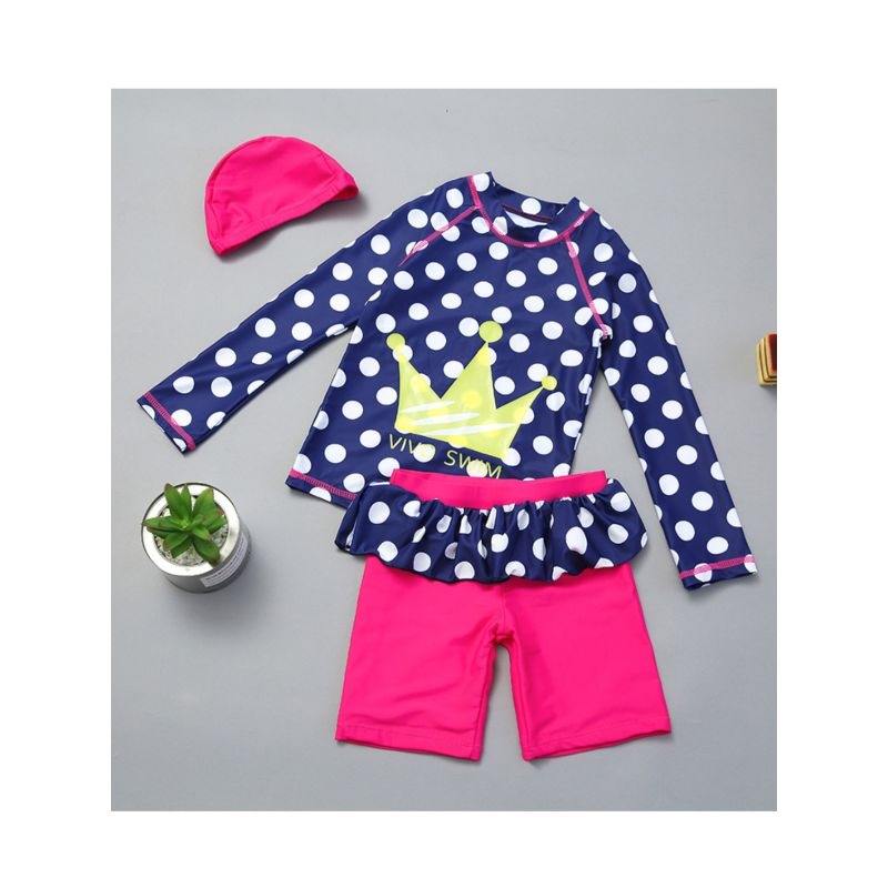 3-Piece Girls Sun Protection Swimwear Set Polka Dots Crown Long-sleeved Top + Frilled Short Pants+Hat