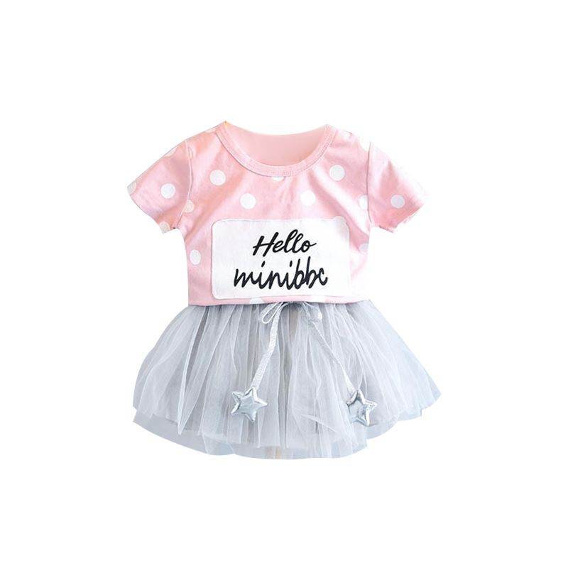 2-Piece Fashion Baby's Set Polka Dots HELLO MINIBBC Letters Print Short-sleeved T-shirt + Star Mesh Skirt