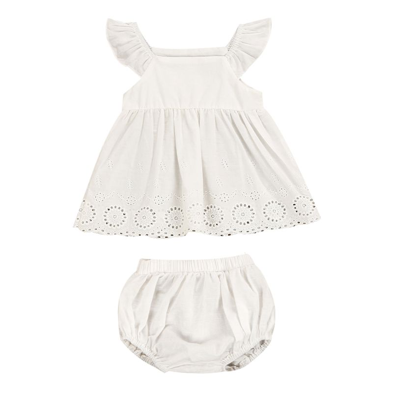 2-Piece Summer Infant Girl Pierced Flower Short Flutter Sleeve White Dress + Shorts Set