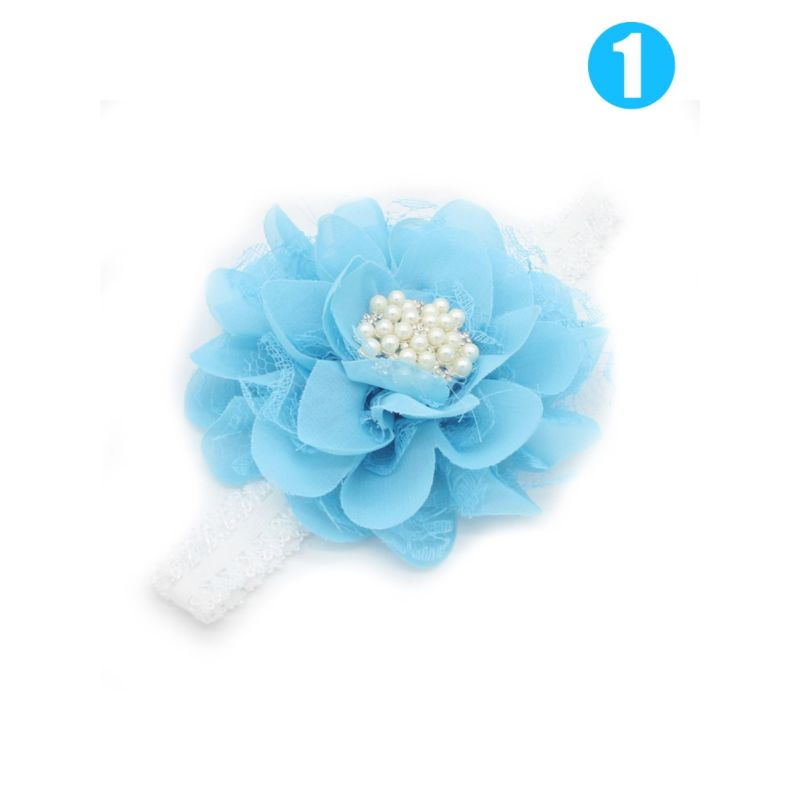 3-PACK Sweet Flower Beaded Trimmed Baby Headband Party Accessory