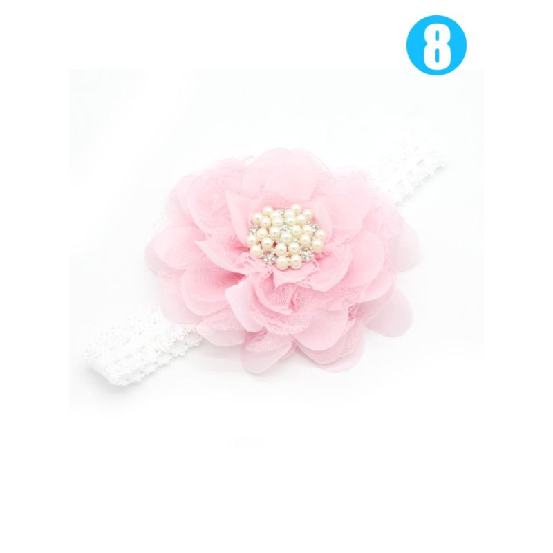 3-PACK Sweet Flower Beaded Trimmed Infant Girl  Headband Party Accessory
